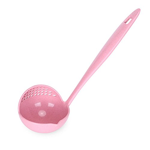 Pink Ladle (Katoot@ 2in1 Kitchen Supplies Soup & Colander Spoon With Long Handle Soup Spoon Skimmer Hot Pot Soup Ladle Cooking Tools (Pink))