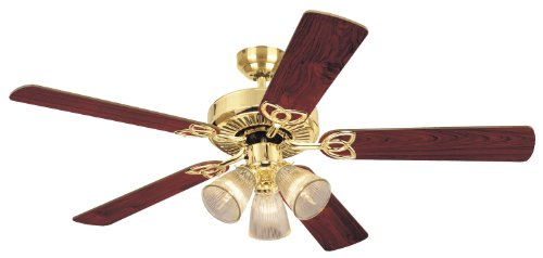 (Westinghouse 7804320 Vintage Three-Light 52-Inch Reversible Five-Blade Indoor Ceiling Fan, Polished Brass with Clear Ribbed Glass Shades)