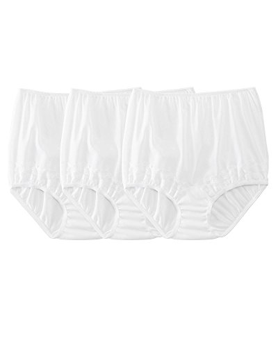 Dixie Belle Silky Lace Trim Panty, White, 7, 3-pk (Bella Underwear Ladies)