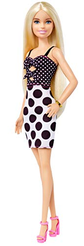 Barbie Fashionistas Doll with Long Blonde Hair Wearing Polka Dot Dress and Accessories, for 3 to 8 Year Olds