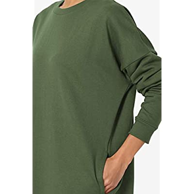TheMogan Casual Oversized Crew Or V-Neck Sweatshirts Loose Fit Pullover Tunic S~3XL at Women's Clothing store