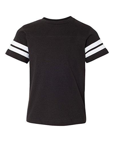 Kids Youth Football Fine Jersey Raglan 3/4 Sleeve Shirt, Black/White, Small