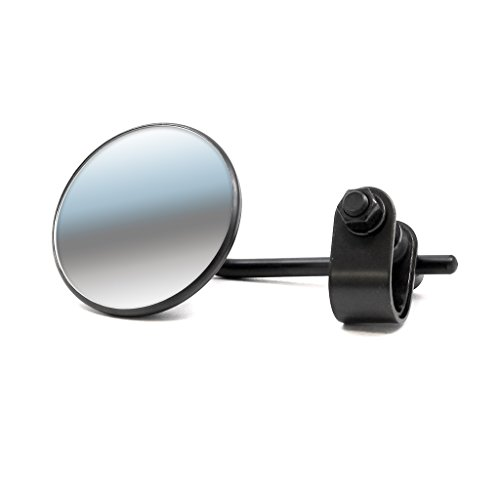 Black Universal Clamp-On Round 3'' Mirror Motorcycle Rearview Mirror by DCC Originals