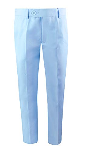 Black n Bianco Boys' First Class Slim Fit Trousers Dress Pants Gently Tapered Flat Front - Presented by Baby Muffin (12, Light Blue) ()