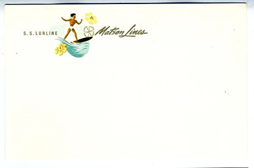 S S LURLINE Postcard Matson Lines Hawaiian Surfer