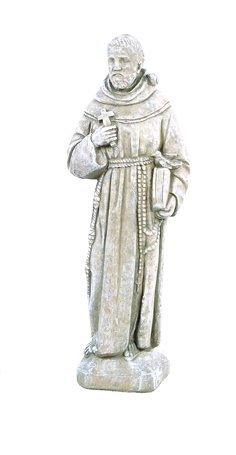 Solid Rock Stoneworks St Francis with Bird On Shoulder Statue 25in Tall Desert Sand Color (Statue St Francis Assisi)