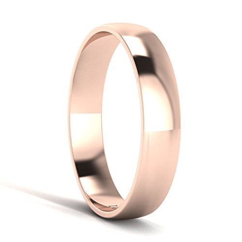 Unisex 10k Rose Gold 4mm Light Court Shape Comfort Fit Polished Wedding Ring Plain Band (10) by LANDA JEWEL (Image #2)