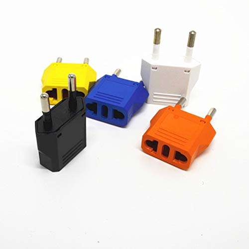 Davitu 1PCS New US (USA) to EU (Europe) Travel Power Plug Adapter for USA converter Charger Charging Adapter Converter Adaptor – (Color: Yellow plug)