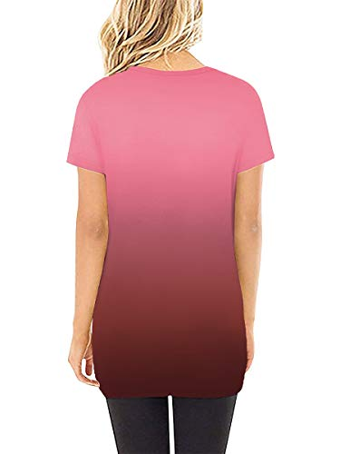 SAMPEEL Womens V Neck T Shirts Casual Tunic Twist Knot Tops