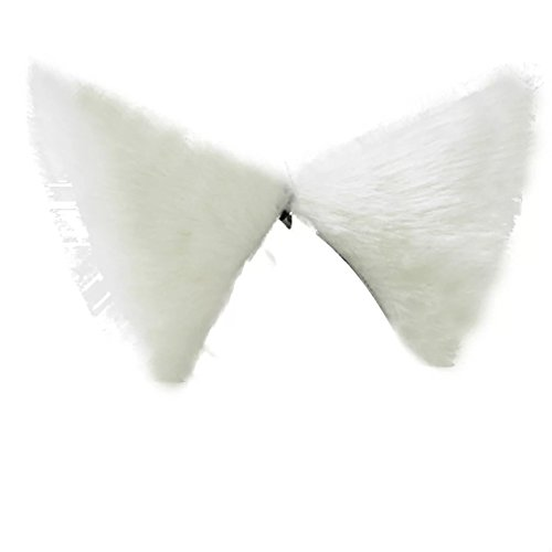 9 Colors Fashion Lolita Cosplay Maid Cat Ears Hair Clips Anime Costume (White) -