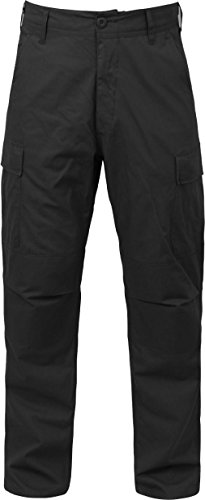 Black Solid Military Rip-Stop BDU Cargo Bottoms Fatigue Trouser Pants