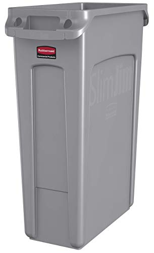 (Rubbermaid Commercial Products Slim Jim Plastic Rectangular Trash/Garbage Can with Venting Channels, 23 Gallon, Gray (FG354060GRAY) (Renewed))