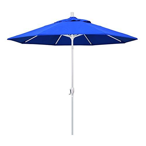 California Umbrella 9' Round Aluminum Market Umbrella, Crank Lift, Push Button Tilt, White Pole, Sunbrella Pacific Blue ()