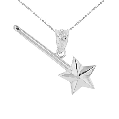 Pendant Wand - Fine 925 Sterling Silver Magic Fairy Wand Pendant Necklace, 16