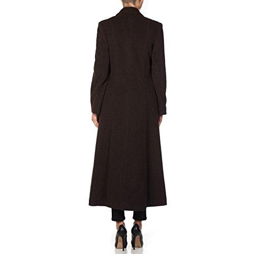 Y Largo Mujer Lana Mezcla Abrigo Color De Cachemira Crema Invierno Marrón Para q6w5IBn