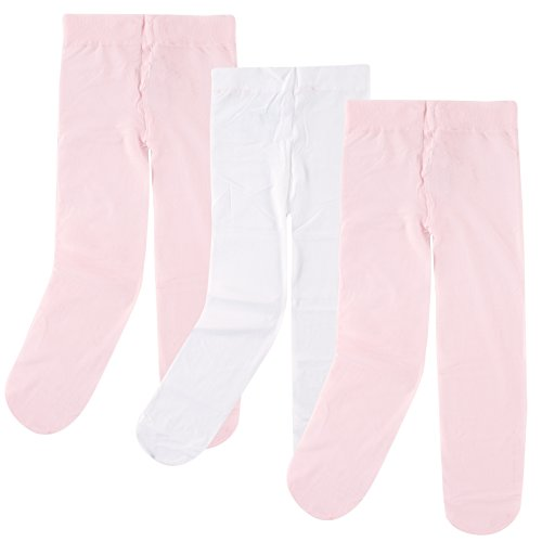 Luvable Friends Baby Girls' Nylon Tights, 3 Pack, Pink/White, 18-24 Months (Baby Tights Pink)