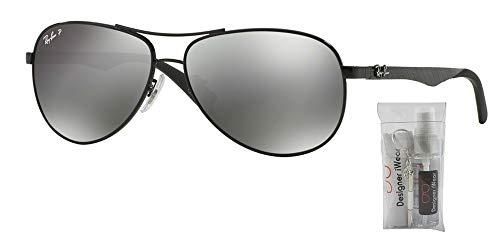 Shiny Grey Sunglasses - Ray-Ban RB8313 CARBON FIBRE 002/K7 61M Shiny Black/Grey Black Mirror Polarized Sunglasses For Men For Women