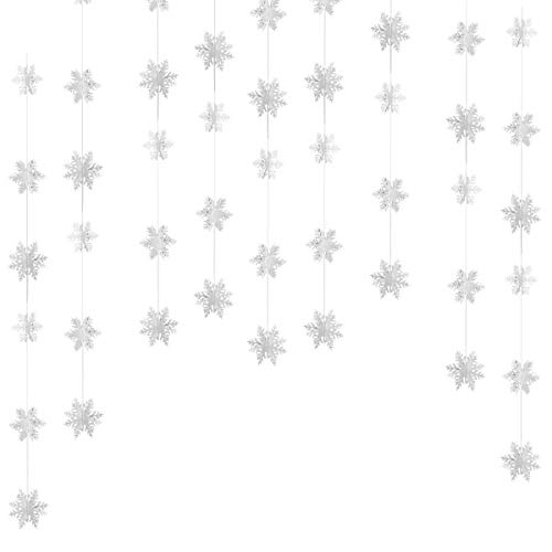 - Christmas Party Decorations,24Pcs Holiday 3D White Snowflake Hanging Garland Flags -Christmas,Home Decor,Holiday,New Years Party Decoration
