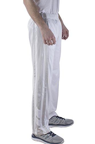 Vertical Sport Mesh Side Pockets Running Men's Track Pants JP16 (Medium, White-2)