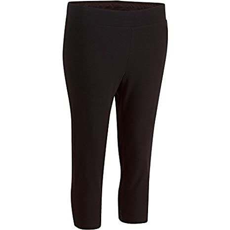 390913dff2a68 Buy DOMYOS FIT+ WOMEN'S SLIM-FIT GYM & PILATES CROPPED BOTTOMS - BLACK  Online at Low Prices in India - Amazon.in