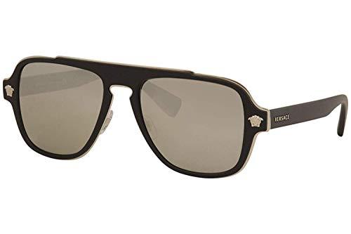 Versace Men's VE2199 Matte Black/Light Grey Mirror Silver One ()