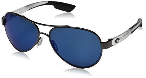 Costa Del Mar South Point Sunglasses, Gunmetal with Crystal Temples, Blue Mirror 580P Lens Costa Del Mar Gunmetal Sunglasses