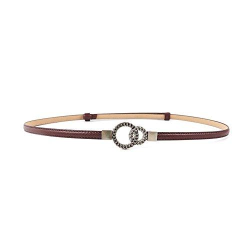 Ya Jin 2Pack Women Snakeskin Leather Skinny Waist Belt Adjustable Ultra Thin Belt
