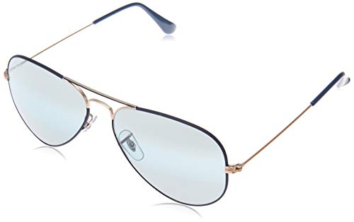 Ray-Ban Unisex RB3025 Original Aviator 55mm Copper/Matte Dark Blue/Blue Bi-Mirror Grey One ()