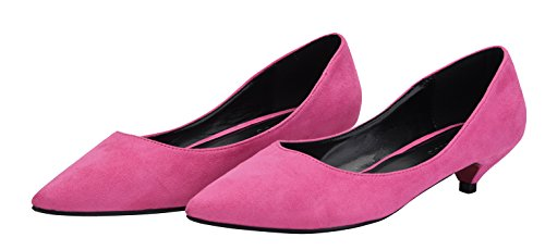 velvet Women Dress Pumps Formal rose Toe Slip Shoes Pointed For Cute Heel On Low Shoes Kitten qxwZfEx