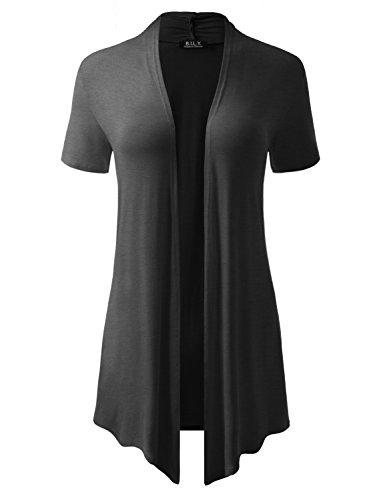 BH B.I.L.Y USA Women's Short-Sleeve Open Front Drape Cardigan with Side Pockets Charcoal X-Large ()