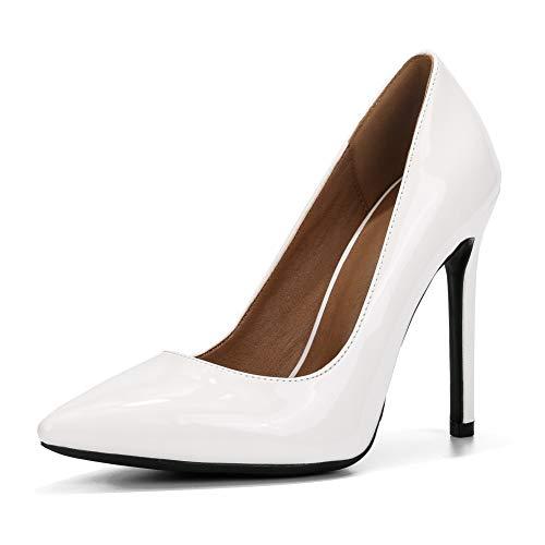 fereshte Women's Classic Pointy-Toe Dress Pumps Sexy Slip-on Stiletto High Heels PU White Mat EU38