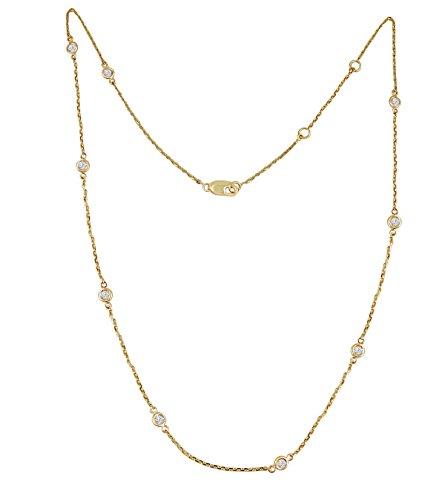 Samaya Jewels 1/2ct Bezel Set Diamond By The Yard 14k White/Yellow Gold Station Necklace 16