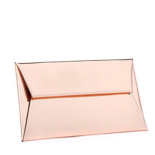 BYSUMMER MARKFRAN Evening Purse Handbag Clutch Wedding Cocktail Party Bag Metallic Envelope Clutch (Rose Gold)