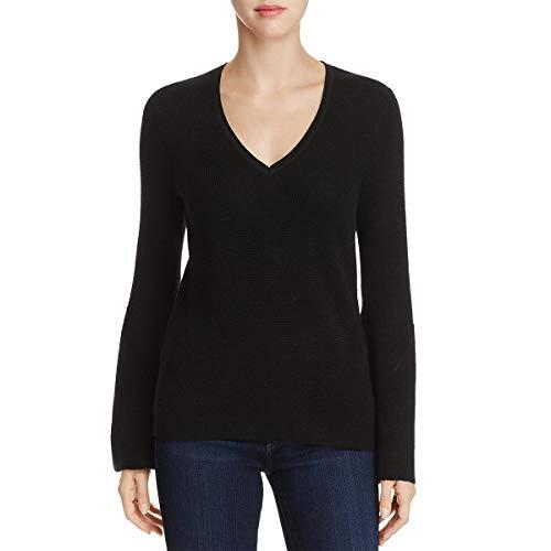 Elie Tahari Womens Belle Merino Wool Bell Sleeve V-Neck Sweater Black M