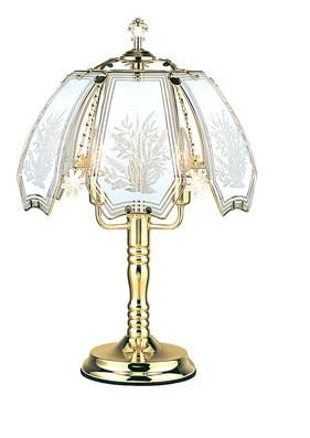 OK LIGHITNG OK-638WW-SP3 24 in. White Floral Pattern Brass Touch Lamp
