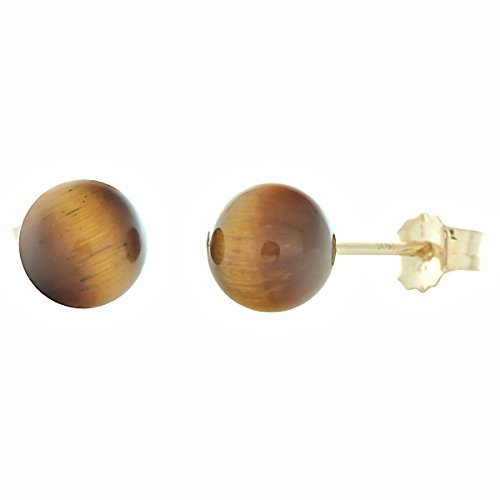 - Trustmark 14K Yellow Gold 6mm Natural Brown Tigers Eye Ball Stud Post Earrings Solid