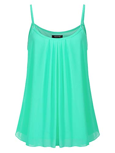 SSOULM Women's Sleeveless Pleated Chiffon Layered Cami Tank Top Blouse MINTGREEN ()