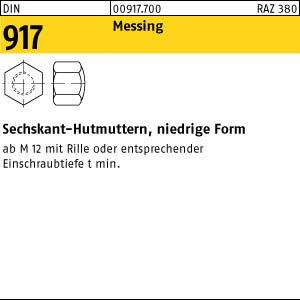 Din 917 Hutmuttern Messing M 12 NEU 5 Stück niedrige Form
