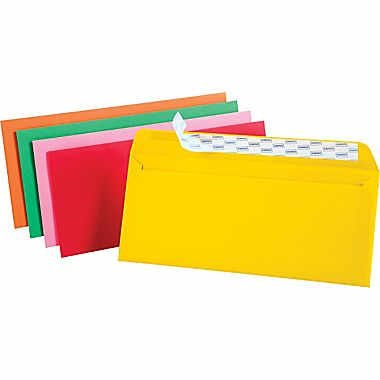 Staples EasyClose No. 10 Assorted Brights Colored Envelopes, 4-1/8-inches x 9-1/2-inches, Pack of 50 ()