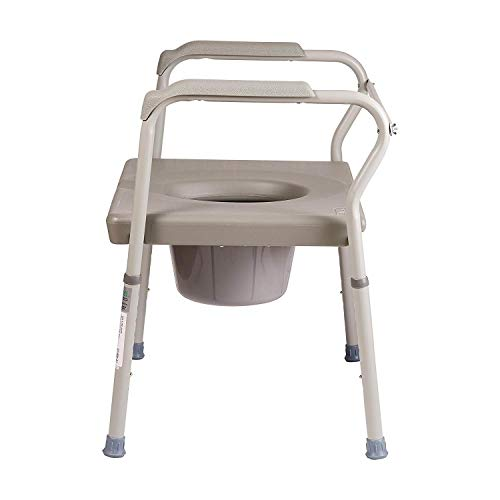 DMI Bedside Commode Chair, 500 lb Capacity Heavy-Duty Steel Commode Toilet Chair, Toilet Safety...