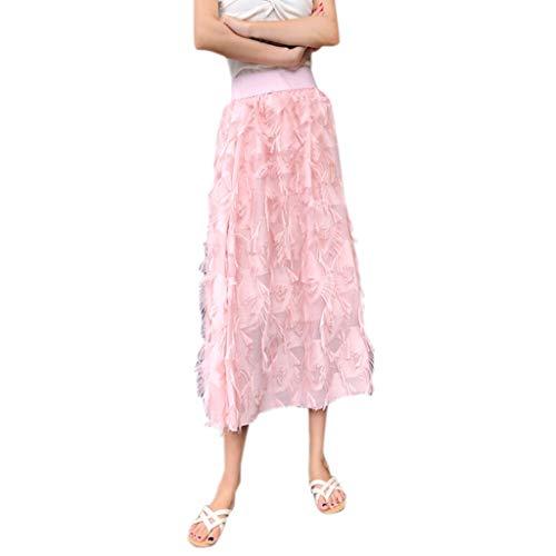 JQjian Summer Cake Cute Short Versatile Skirt for Women, High Waist Medium Long Pleated Skirt (One Size, Pink-1) ()
