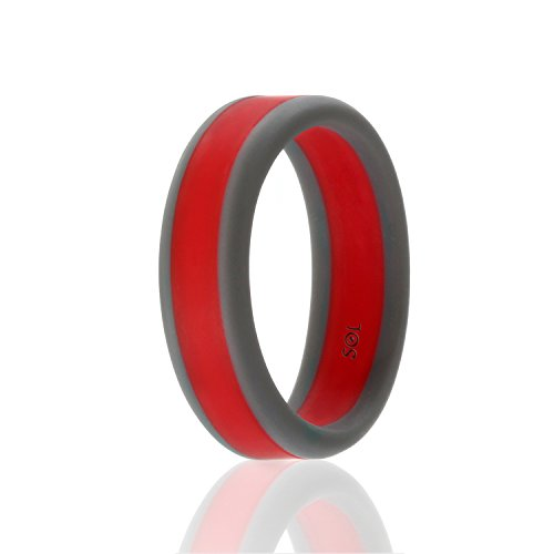 Silicone Wedding Ring For Men By SOL (Power X Series), Safe and Sturdy Silicone Rubber Wedding Band, Dark Grey with Red, size 11