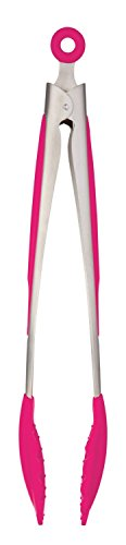 Stainless Steel Silicone Kitchen BBQ Tongs 10-Inch with Locking Clip (hot pink)