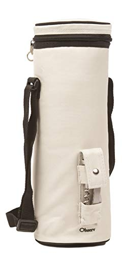 (Observ Insulated Wine Tote Bag, Pearl White - Wine Bottle Carrier with Bottle Opener)