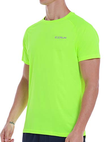 Men's Dry Fit Mesh Athletic T Shirts Quick Dry Moisture Wicking Running Workout Shirts for Men,Green,XL ()