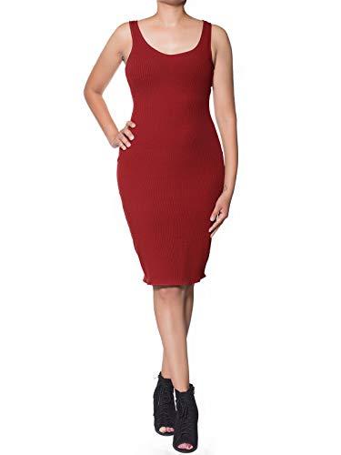 Instar Mode Women's Ribbed Back Slit Tank Midi Bodycon Dress Rust -