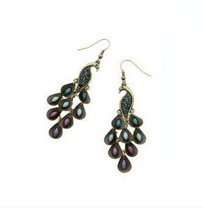 New Lady Vintage Retro Blue the Prancing Peacock Earrings (Jewelry Peacock)