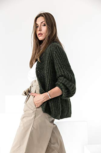 Fuzzy, chunky knit mohair and alpaca wool cardigan sweater in moss green
