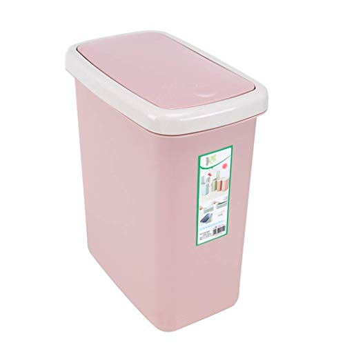 (ACDRX Spring-Top Lid Plastic Wastebasket, Rectangular Compact Trash Can for Narrow Spaces at Home or Office 10L(2.6gallons),Powder)