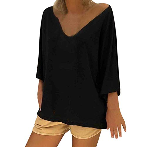 Plus Size Tops Women V Neck Boho Beach Cover Hippie Baggy Blouse Dress -